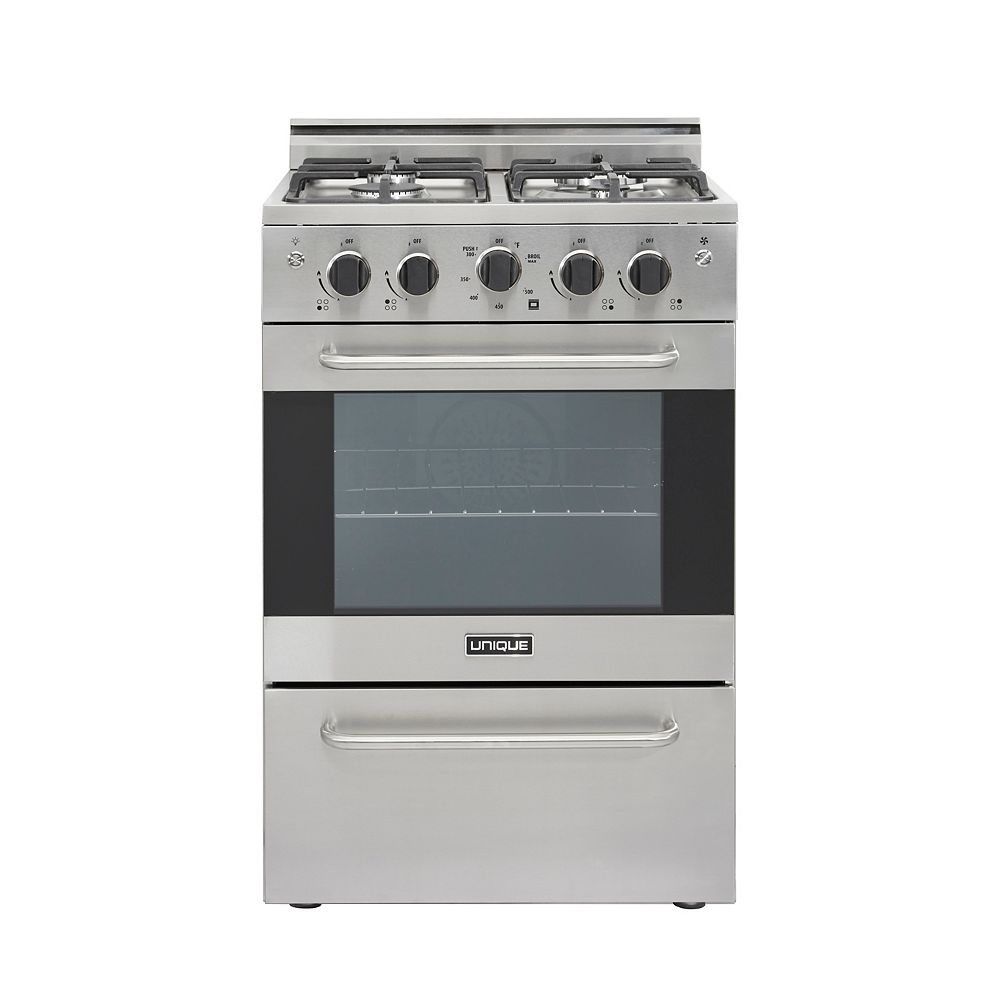 Unique Prestige 24-inch 2.3 cu. ft. Gas Convection Range Sealed Burners in Stainless Steel