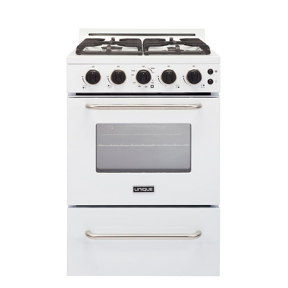 Unique Classic Plus 24-inch 2.9 cu. ft. Gas Range Convection Oven with Sealed Burners in White