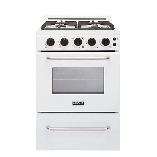 24-inch 2.9 cu. ft. Gas Range Convection Oven with Sealed Burners in White