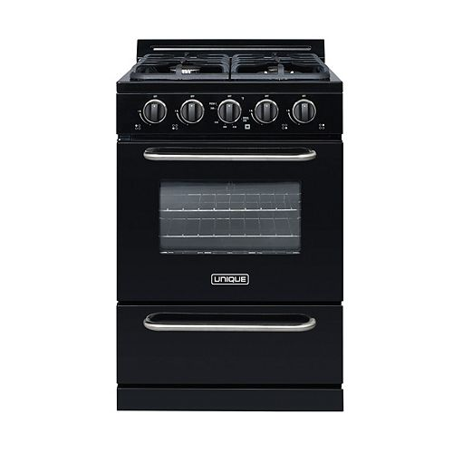 24-inch 2.9 cu. ft. Gas Convection Range Sealed Burners in Black