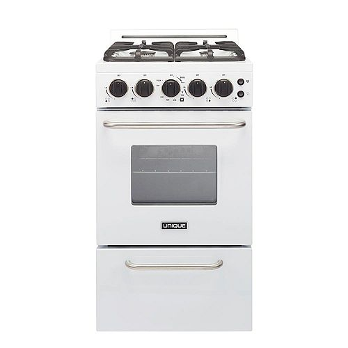 20-inch 2.3 cu. ft. Gas Convection Range Sealed Burners in White