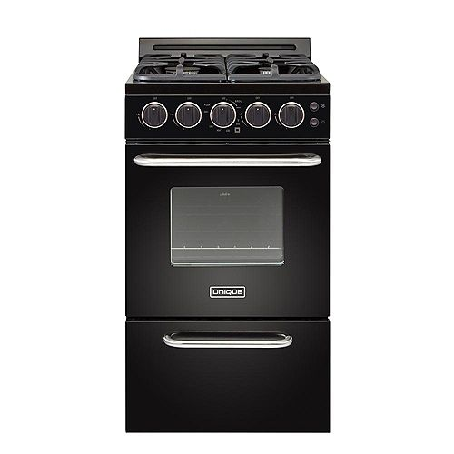 Unique Classic Plus 20-inch 2.3 cu. ft. Gas Convection Range Sealed Burners in Black