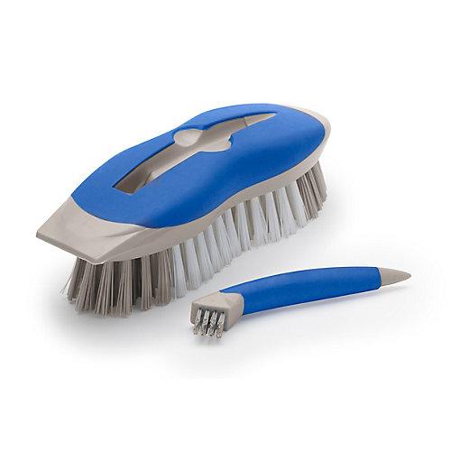 Brosse à récurer en forme de barre 2en1 avec outil pour petits endroits