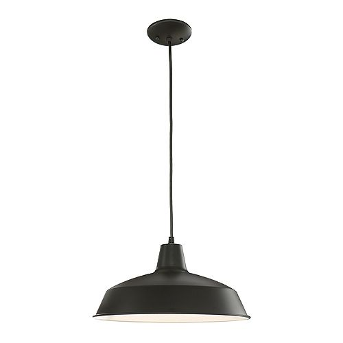 Taite Collection 1-Light Pendant Light Fixture in Black