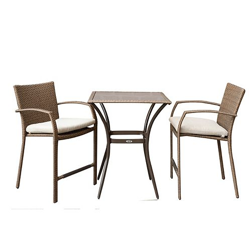 Delaronde Light Brown 3-Piece Wicker Patio Bistro Set with Tan Seat Pads