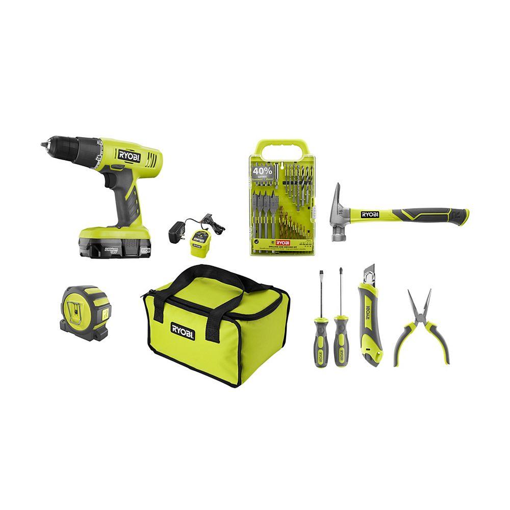 RYOBI 18V One+ Home Owner Starter Kit w/ 18V Drill/Driver & 18V Battery