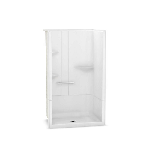 Camelia 48 inch x 34 inch x 79 inch 2-piece Acrylic Shower with Center Drain in White