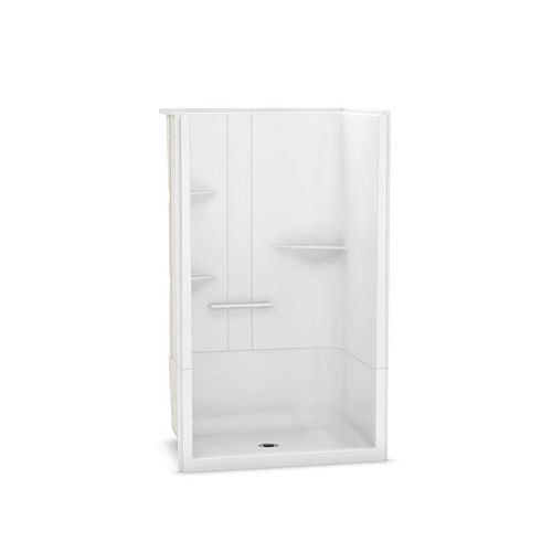 MAAX Camelia 48-inch x 34-inch x 79-inch 2-Piece Acrylic Shower with Centre Drain in White