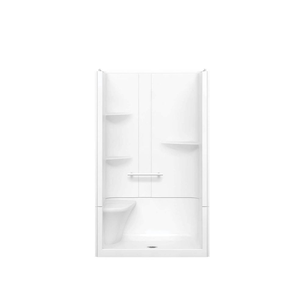 MAAX Camelia 48-inch x 34-inch x 79-inch 2-Piece Acrylic Shower with Centre Drain and Left Seat in White