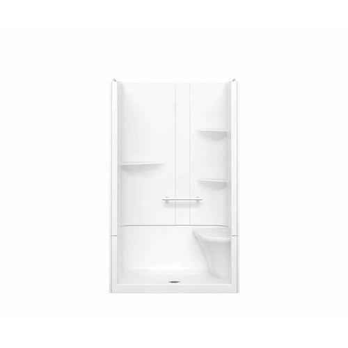MAAX Camelia 48-inch x 34-inch x 79-inch 2-Piece Acrylic Shower with Centre Drain and Right Seat in White