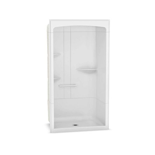 Camelia 48 inch x 34 inch x 88 inch 3-piece Acrylic Shower with Center Drain in White
