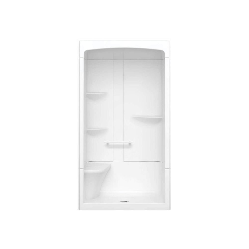 MAAX Camelia 48-inch x 34-inch x 88-inch 3-Piece Acrylic Shower with Centre Drain and Left Seat in White