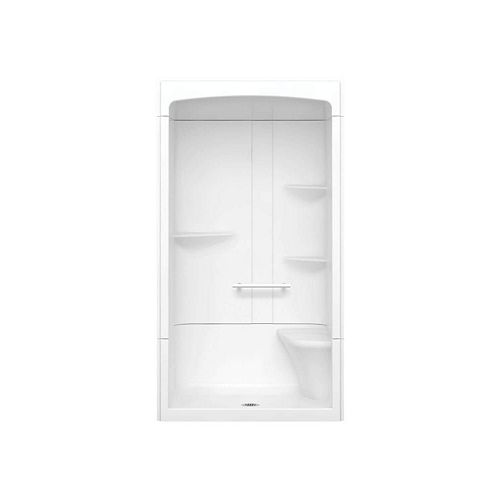 Camelia 48-inch x 34-inch x 88-inch 3-Piece Acrylic Shower with Centre Drain and Right Seat in White