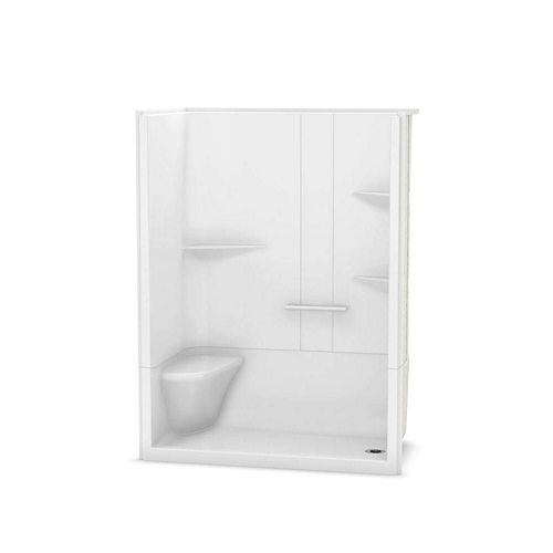 Camelia 60-inch x 34-inch x 79-inch 2-Piece Acrylic Shower with Right Drain and Left Seat in White