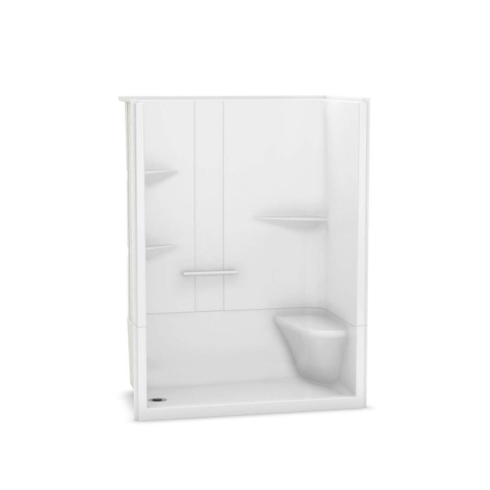 MAAX Camelia 60-inch x 34-inch x 79-inch 2-Piece Acrylic Shower with Left Drain and Right Seat in White