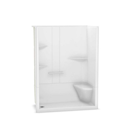 Camelia 60-inch x 34-inch x 79-inch 2-Piece Acrylic Shower with Left Drain and Right Seat in White