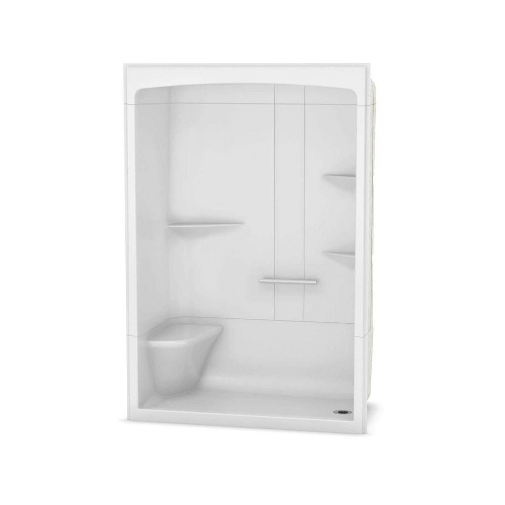 MAAX Camelia 60-inch x 34-inch x 88-inch 3-Piece Acrylic Shower with Right Drain and Left Seat in White