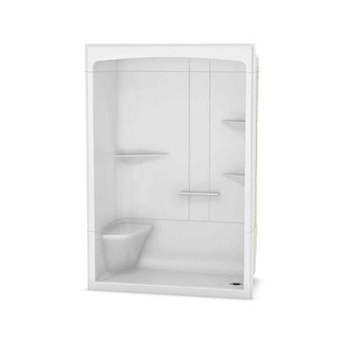 Camelia 60-inch x 34-inch x 88-inch 3-Piece Acrylic Shower with Right Drain and Left Seat in White