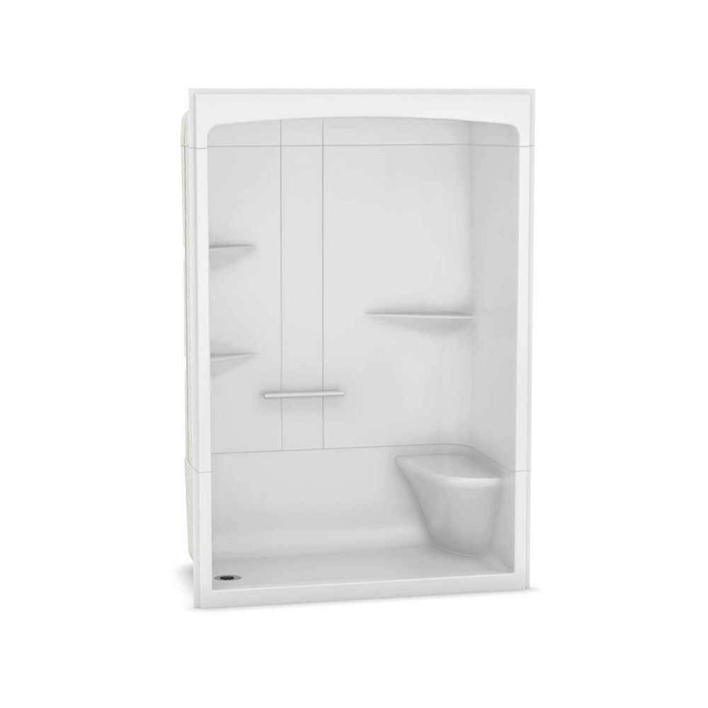 MAAX Camelia 60-inch x 34-inch x 88-inch 3-Piece Acrylic Shower with Left Drain and Right Seat in White