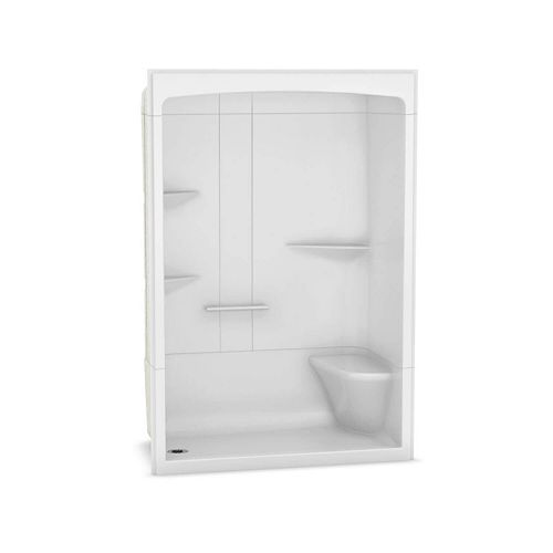 Camelia 60-inch x 34-inch x 88-inch 3-Piece Acrylic Shower with Left Drain and Right Seat in White