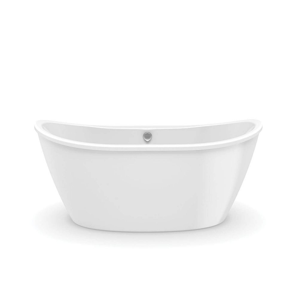 MAAX Delsia - Baignoire autoportante ovale 60 x 32 x 27 po., drain décentré, profondeur de cuve de 18.5 po., AcrylX blanc