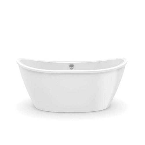 Delsia 60L x 32W x 26.625H Oval FreeStanding AcrylX Bathtub Center Drain in White with 18.5-inch Soaking Depth