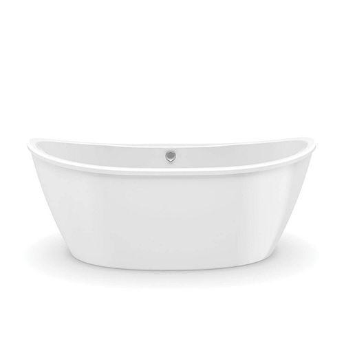 Delsia 66L x 36W x 26.625H Oval FreeStanding AcrylX Bathtub Center Drain in White with 14.75-inch Soaking Depth