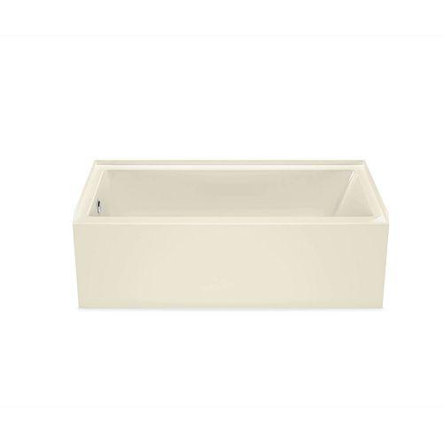 MAAX Bosca AFR 60L x 30W x 20H Rectangular Alcove Acrylic Bathtub Left Drain in Bone with 9-inch Soaking Depth