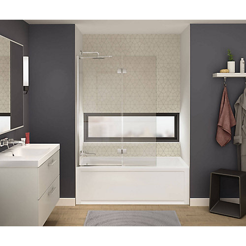 Axial Duo 42 inch x 58 inch Frameless Fixed Tub Door in Brushed Nickel