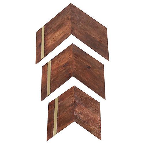 """Ornement mural """"Nolan"""" 23 po H x 24  L en bois de mangue et fer (3-pièces)"""