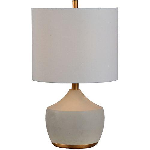 """Lampe de table en Gris et or avec abat-jour de lin """"Horme"""" 12 po H x 12 L"""