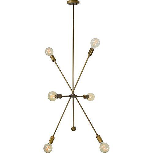 """Pendentif en laiton antique """"Leonis"""" 99 po H x 29 L x 5 P de 8-lumières 40W"""