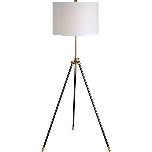 """Lampe de plancher en laiton antique et noir avec abat-jour """"Mewitt"""" 64 po H x 25 L"""