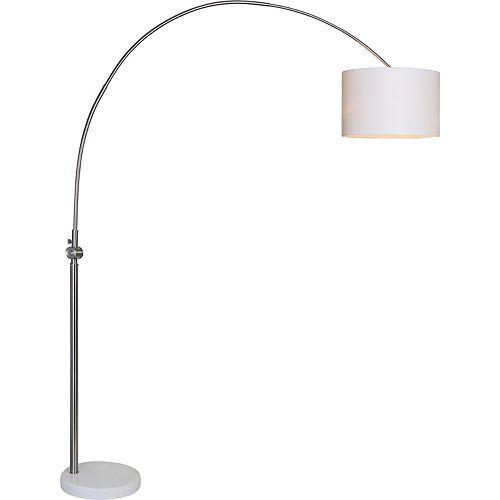 """Lampe de plancher en nickel brossé avec abat-jour """"Cassell"""" 82 1/2 po H x 19 L"""