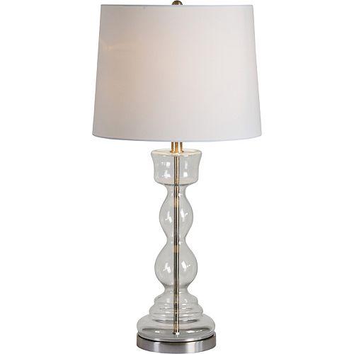 """Lampe de table en nickel satiné avec abat-jour """"Dunton"""" 30 po H x 15 L"""