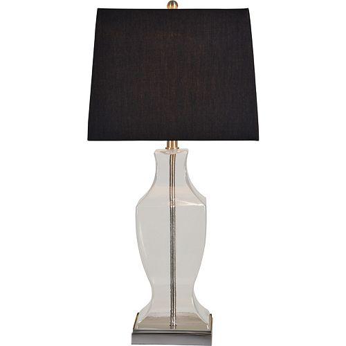 """Lampe de table en nickel satiné avec abat-jour """"Ashton"""" 30 po H x 14 1/2 L"""
