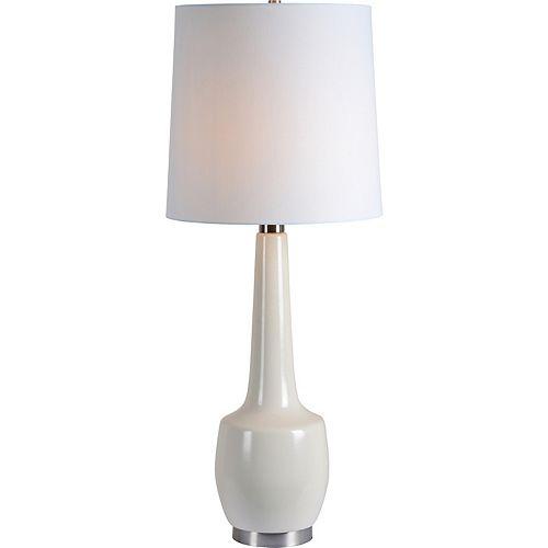 """Lampe de table en fini crème craquelé avec abat-jour """"Kirkgate"""" 35 1/2 po H x 15 L"""