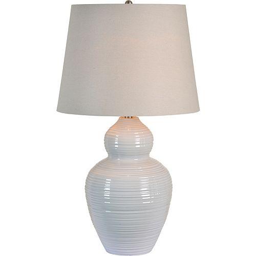"""Lampe de table en gris avec abat-jour en lin """"Latchmore"""" 32 po H x 18 L"""