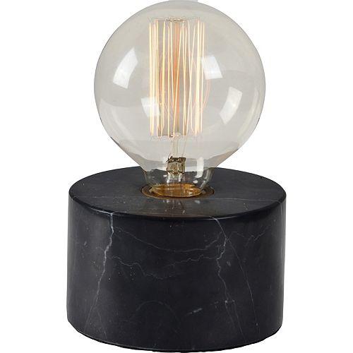 """Lampe de table en marbre noir """"Sefton"""" 7 po H x 4 4/5 L"""