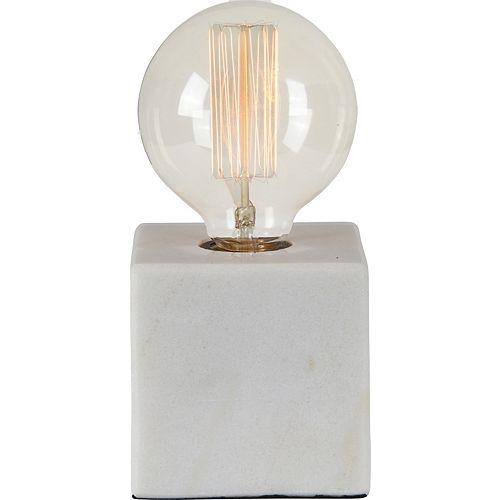 """Lampe de table en marbre blanc """"WilloughPar"""" 8 po H x 4 L"""