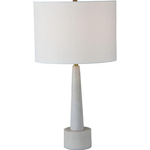 """Lampe de table en marbre blanc et laiton antique avec abat-jour en lin """"Normanton"""" 26 po H x 14 L"""