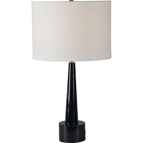 """Lampe de table en marbre noir et laiton antique avec abat-jour en lin """"Briggate"""" 26 po H x 14 L"""