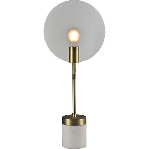 """Lampe de table en laiton antique avec abat-jour en verre """"Albion"""" 22 po H x 9 1/2 L"""