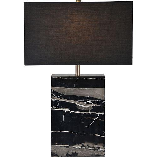"""Lampe de table en marbre blanc  et noir avec abat-jour en lin """"Rydell"""" 23 po H x 15 1/2 L"""