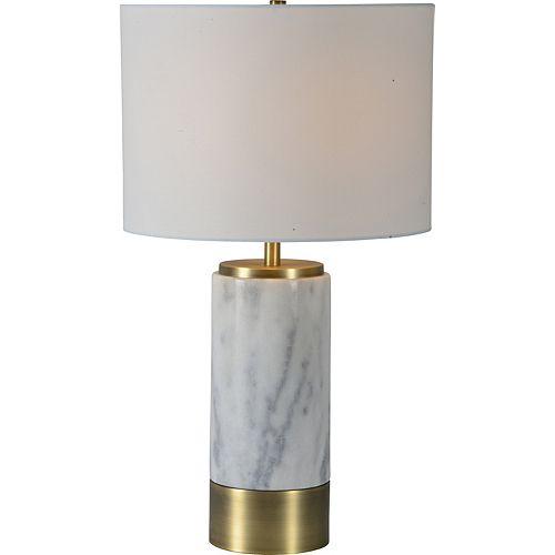 """Lampe de table en laiton antique avec abat-jour en lin """"Hainsworth"""" 24 1/2 po H x 14 L"""