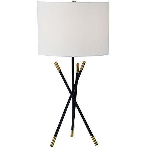 """Lampe de table en laiton antique avec abat-jour en lin """"Hudswell"""" 27 po H x 14 L"""