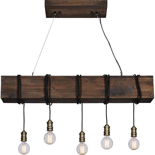 Kidarce 5-Light 40W Brown Pendant