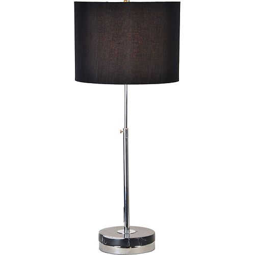Lamoro 11-pouce Chrome Table Lamp With Linen Shade