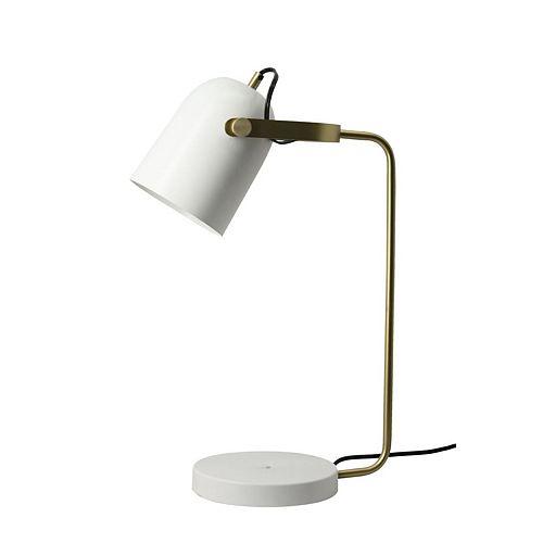 """Lampe de table en blanc cassé et laiton avec un abat-jour en fer """"Durban"""" 8 po H x 15 1/3 L"""