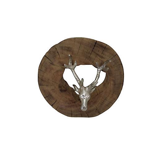 """Sculpture décorative """"Terra"""" 13 po H x 13 L en argenté et brun"""